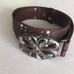 BKE buckle scroll and glitz belt meadow leather